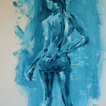 Lady in Blue, 2017. Lily van Riemsdijk. 50 x 70cm. Acryl on paper.