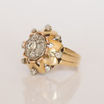 Vintage Ring Blume in 14 kt Gelbgold mit Brillanten