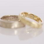 Eheringe 14 kt Gelbgold gescratched mit Diamant und Gravur Fotos Stella Schlatte