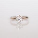 Verlobungsring  14 kt Weissgold mit Diamant