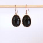 Ohrhänger Silber Rotvergoldet Quarz schwarz auch in Gold erhältlich auf Bestellung Foto Stella Schlatte