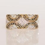 Vintage Diamantring Art Deco Style in 14 kt Gelbgold mit weissen und schwarzen Brillanten