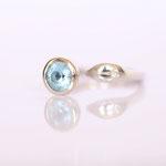Ring Weissgold blauer Topaz mit Diamant