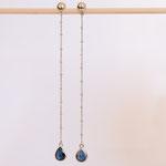 Ohrhänger 14 kt Weissgold mit blauen Saphiren
