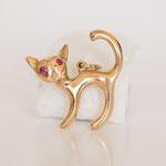 Vintage Katzenanhänger in 14 kt Gelbgold mit Rubin Augen