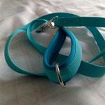 Leine 1,20m Gurtband 2cm Türkis, Handschlaufe Neopren