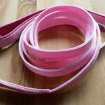 Leine 2,50m, rosa Gurtband 2cm doppelt genäht, Handschlaufe mit pinkfarbigem Leder gepolstert, O-Ring und Karabiner aus Edelstahl