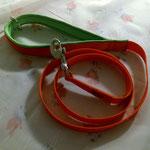 Leine 1,50m Gurtband Orange 2cm, Handschlaufe gepolstert mit Neopren