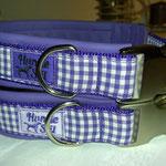 Halsbänder mit Baumwollstoffe,  gepolstert mit Leder