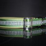 Gurtband grün, Stopper Stahl vernickelt, Leder grün