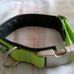 Gurtband Limone 2,5cm, Schließe aus Alu, Polster schwarzes Leder