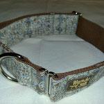 Halsband Gurtband braun 4cm,  Stoff,  Stopper + D-Ring. verz.  Über den Kopf anziehen, einstellen,  fertig