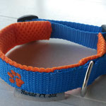 Halsband blau,  2cm Gurtband, Polster AirMesh orange