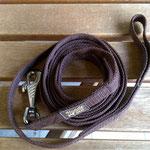Schleppleine 3 Meter, Gurtband braun 2cm mit Handschlaufe, doppeltes Gurtband