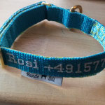 Halsband Rosi, Gurtband Petrol 2cm, Name + Telefon aufgestickt