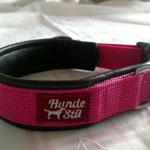 Gurtband Pink 2,5cm, Polster schwarzes Leder