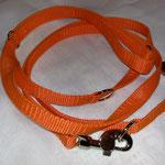 Leine 3-teilig, Gurtband doppelt, orange 1,5cm