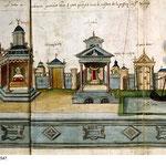 Croquis de la scénographie du Mystère représenté à Valenciennes en 1547.