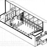 Vue axonométrique et proposition de restitution (première moitié du XVII° siècle) de la salle et de la scène de l'Hôtel de Bourgogne, avec le décor des Occasions perdues de Rotrou (Bibliothèque de l'Opéra, Paris)