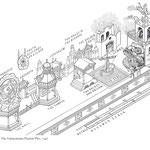 Croquis moderne du dispositif scénographique pour le Mystère de 1547 à Valenciennes.