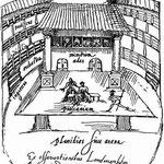 Dessin de Van Buchel, d'après De Witt, représentant l'intérieur du Swan, 1596. Original à la bibliothèque de la Rijkuniversiteit, Utrech