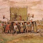 Le farceur médecin soutire de l'urine pour son diagnostic Recueil de chants religieux et profanes, 1642 (Peinture attribuée au Cambrésien Louis de Caullery)