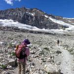 氷河の間近を歩けるのも魅力