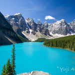 世界的な名所、モレーン・レイクからハイキングはスタート