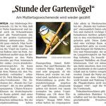 """Bericht """"Stunde der Gartenvögel 2017"""" - mit frdl. Erlaubnis der SZ"""