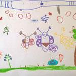 Schmetterlingsfamilie - Filzstift, Buntstift auf Papier 2019
