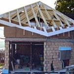 Dachstuhl bei einem Neubau
