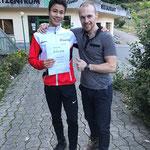 Anton Kovalevskyi und Raphael nach dem Goldtest in Flims