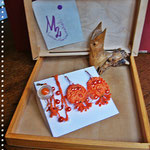 Pezzotti Earrings - Orange pearls  and flowers Parure