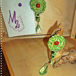 Pezzotti Earrings - Greenlime, red, green drops and pearls