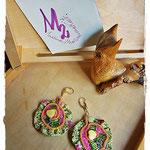Tribute to Gustav Klimt - Yellow Hearts earrings