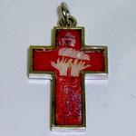 Anhänger Kreuz mit eingelegter Kinderzeichnung, Silber