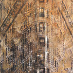 """AVAILABLE - """"FLatiron building"""" - Mixed media, collage and acrylic paint on paper on canvas - 61x61cm"""