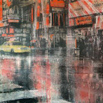 AVAILABLE - Time Square 2 - 115x60cm - Mixed media, collage and acrylic paint on paper on canvas