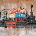 AVAILABLE - PiccadillyCircus 1 - 112x66cm - Mixed media, collage and acrylic paint on paper on canvas