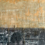 SOLD - AerialParis1 - 113x56cm - Mixed media, collage and acrylic paint on paper on canvas