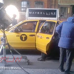Original New York Taxi bei Dreharbeiten