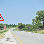 An den Straßen im KAZA bitten Schilder um Vorsicht vor Elefanten...