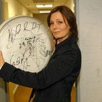 Eben noch laut: ein Trommelfell mit den Autogrammen der Band. Bewahrt von Ingrid Schwandt.