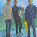 Männer mit gelbem Schirm