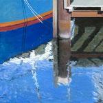 Blaues Boot am Steg - Holtenau/NOK