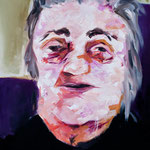 Portrait of old woman, oil on canvas, 120x60, 2012