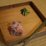 八寸・鯛に大徳寺納豆、たらの芽