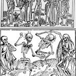 Les représentations des danses macabres  telle que celle de Guyot Marchand qui est une gravure sur bois d'après une fresque du cimetière des Innocents conservée à Paris réalisée en 1485.