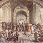 L'École d'Athènes, fresque du peintre italien Raphaël dans la Chambre de la Signature, au Vatican.
