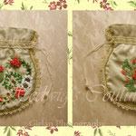 Regency- inspiriertes Reticule, Satin (gecrasht), Baumwollfutter, komplett handbestickt (Ribbon Embroidery), Borten gehäkelt (eigene Fertigung)